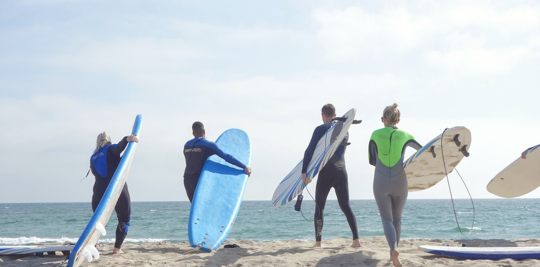 Learn to Surf LA Private Party and Corporate Group Lessons in Santa Monica, Los Angeles, Venice, Manhattan Beach, and Malibu