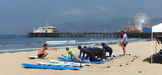 Surfing lesson Santa Monica, California